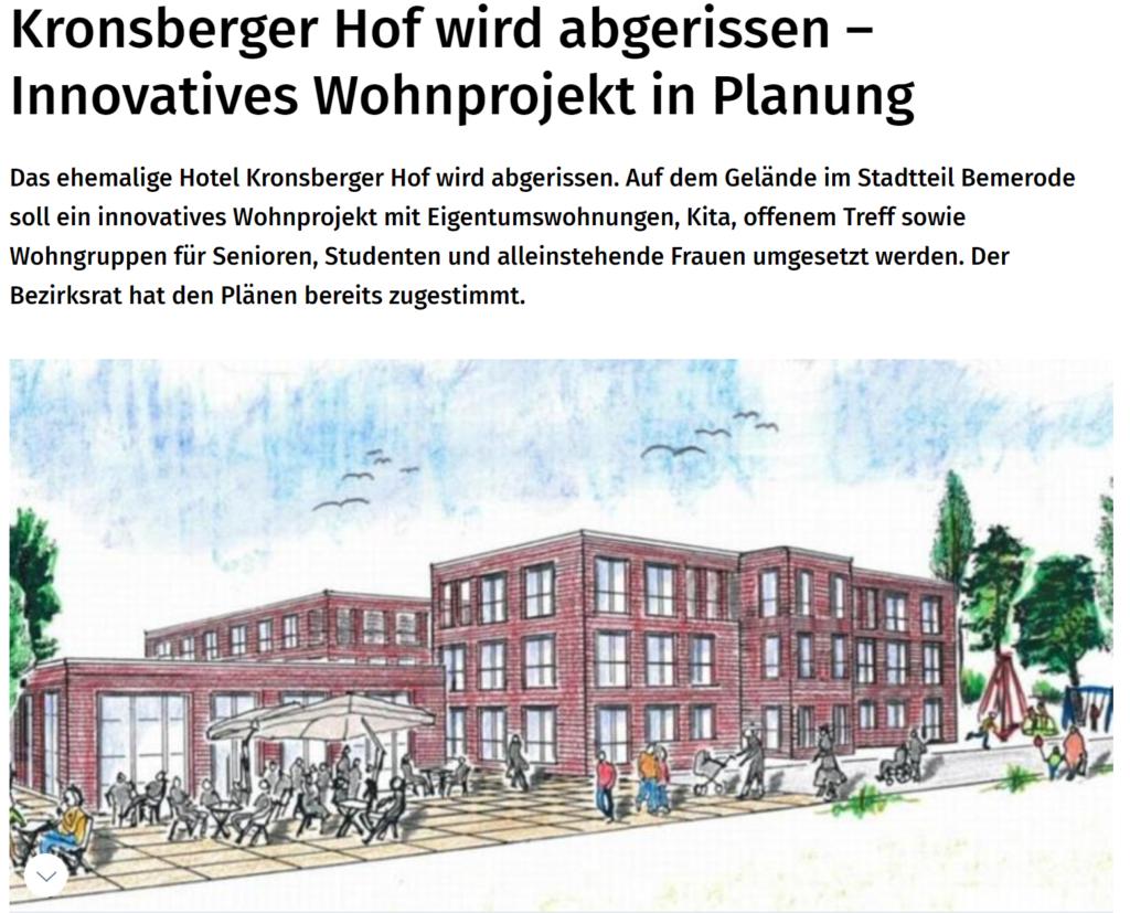 Read more about the article 28.06.2020: Hotel Kronsberger Hof wird abgerissen – Innovatives Wohnprojekt in Planung