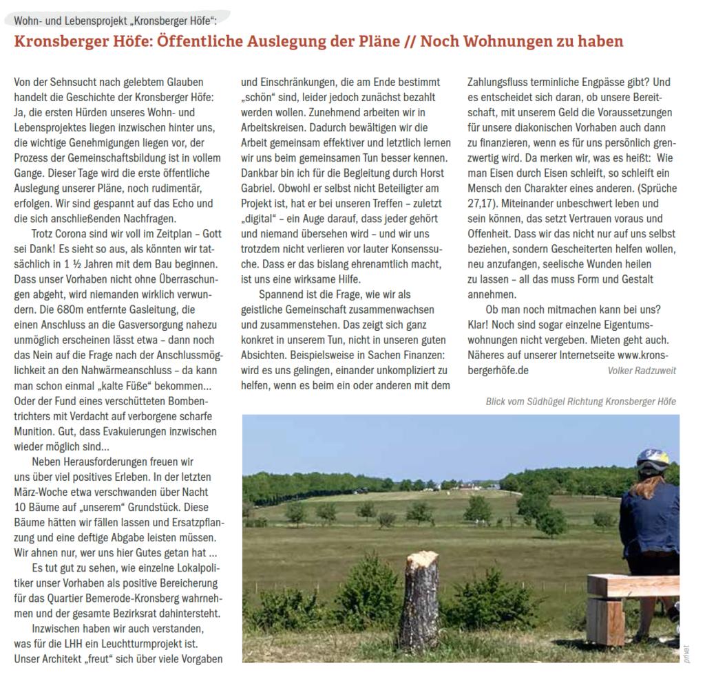 Read more about the article 30.06.2020: Öffentliche Auslegung der Pläne // Noch Wohnungen zu haben